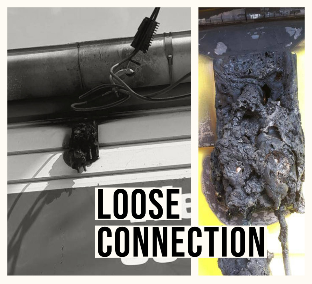 Damage caused by a loose connection